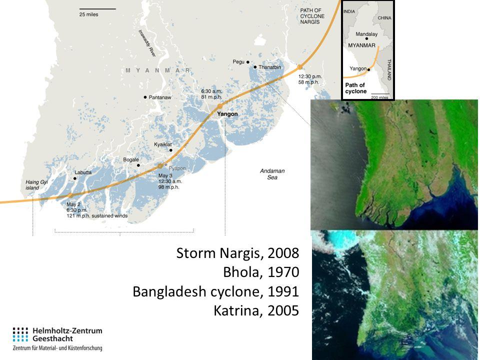 Storm Nargis, 2008 Bhola, 1970 Bangladesh cyclone, 1991 Katrina, 2005
