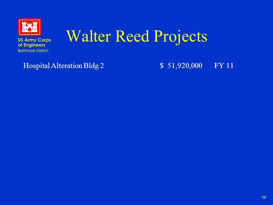 12 Walter Reed Projects Hospital Alteration Bldg 2$ 51,920,000FY 11