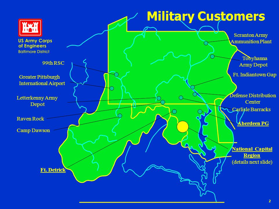 2 Military Customers 99th RSC Greater Pittsburgh International Airport Camp Dawson Letterkenny Army Depot Raven Rock Scranton Army Ammunition Plant Tobyhanna Army Depot Ft.