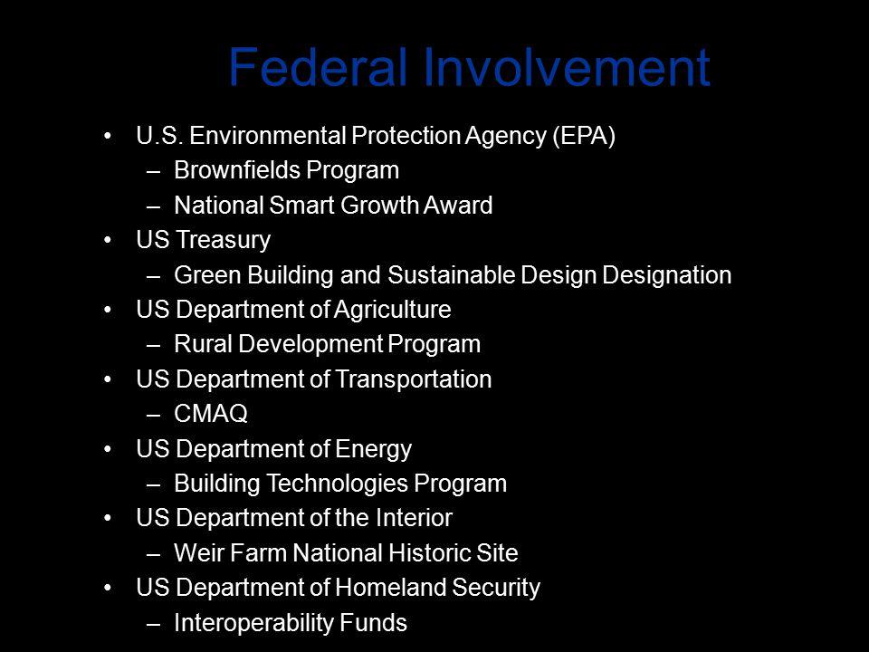 Federal Involvement U.S. Environmental Protection Agency (EPA) –Brownfields Program –National Smart Growth Award US Treasury –Green Building and Susta
