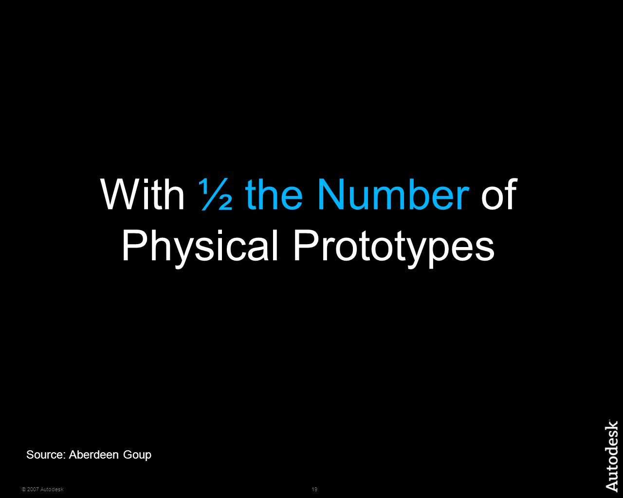 19© 2007 Autodesk With ½ the Number of Physical Prototypes Source: Aberdeen Goup