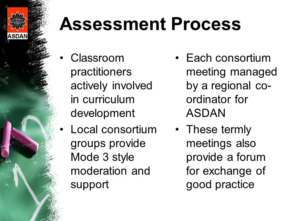 Assessment Process Classroom practitioners actively involved in curriculum development Local consortium groups provide Mode 3 style moderation and support Each consortium meeting managed by a regional co- ordinator for ASDAN These termly meetings also provide a forum for exchange of good practice