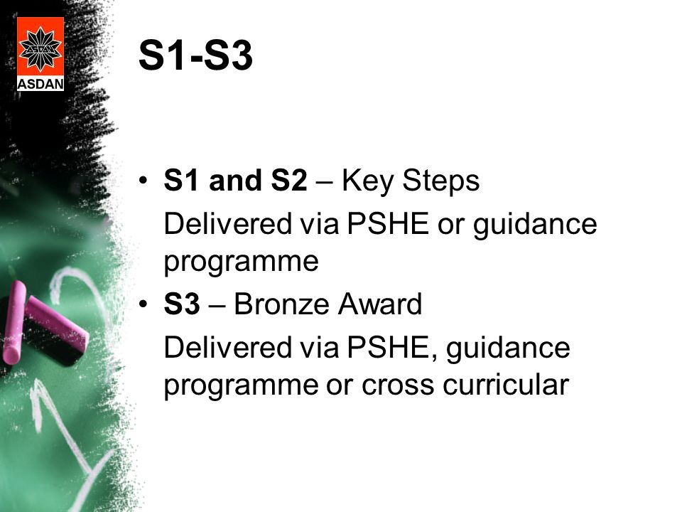 S1-S3 S1 and S2 – Key Steps Delivered via PSHE or guidance programme S3 – Bronze Award Delivered via PSHE, guidance programme or cross curricular