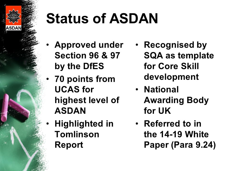 Status of ASDAN Approved under Section 96 & 97 by the DfES 70 points from UCAS for highest level of ASDAN Highlighted in Tomlinson Report Recognised by SQA as template for Core Skill development National Awarding Body for UK Referred to in the 14-19 White Paper (Para 9.24)