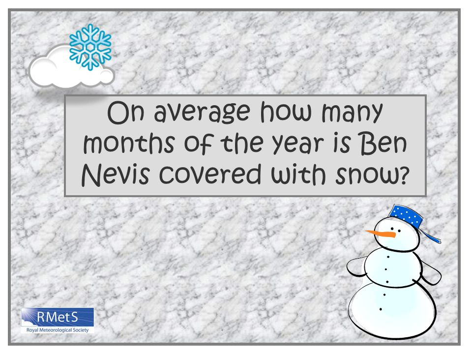 On average how many months of the year is Ben Nevis covered with snow