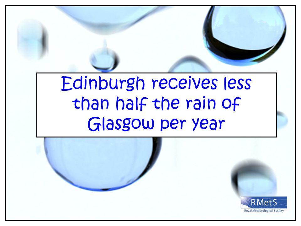Edinburgh receives less than half the rain of Glasgow per year