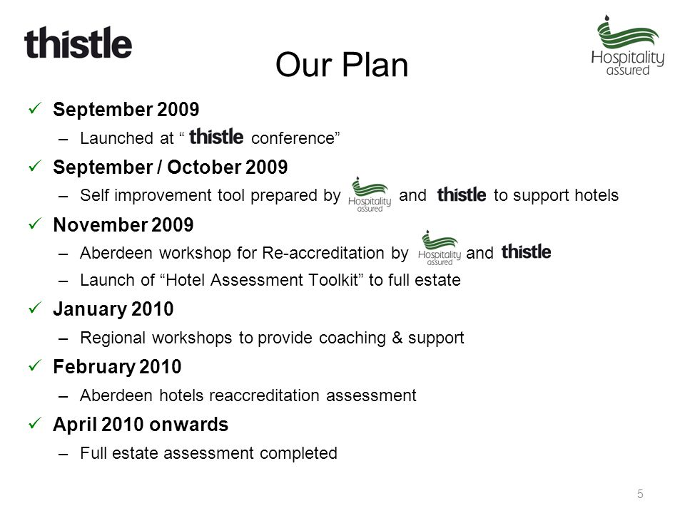 Our Plan September 2009 –Launched at conference September / October 2009 –Self improvement tool prepared by and to support hotels November 2009 –Aberdeen workshop for Re-accreditation by and –Launch of Hotel Assessment Toolkit to full estate January 2010 –Regional workshops to provide coaching & support February 2010 –Aberdeen hotels reaccreditation assessment April 2010 onwards –Full estate assessment completed 5