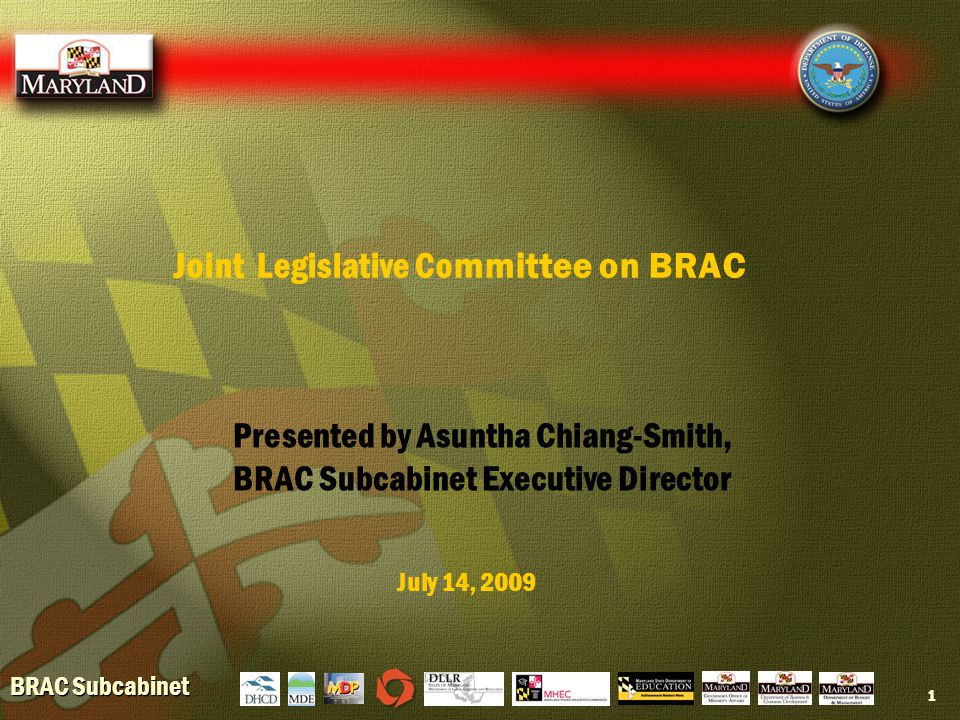 BRAC Subcabinet 1 Joint Legislative Committee on BRAC July 14, 2009 Presented by Asuntha Chiang-Smith, BRAC Subcabinet Executive Director