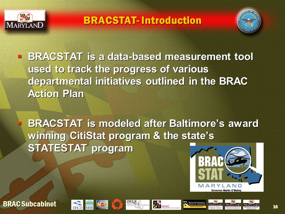 BRAC Subcabinet 16 BRACSTAT- Introduction  BRACSTAT is a data-based measurement tool used to track the progress of various departmental initiatives outlined in the BRAC Action Plan  BRACSTAT is modeled after Baltimore's award winning CitiStat program & the state's STATESTAT program  BRACSTAT is a data-based measurement tool used to track the progress of various departmental initiatives outlined in the BRAC Action Plan  BRACSTAT is modeled after Baltimore's award winning CitiStat program & the state's STATESTAT program
