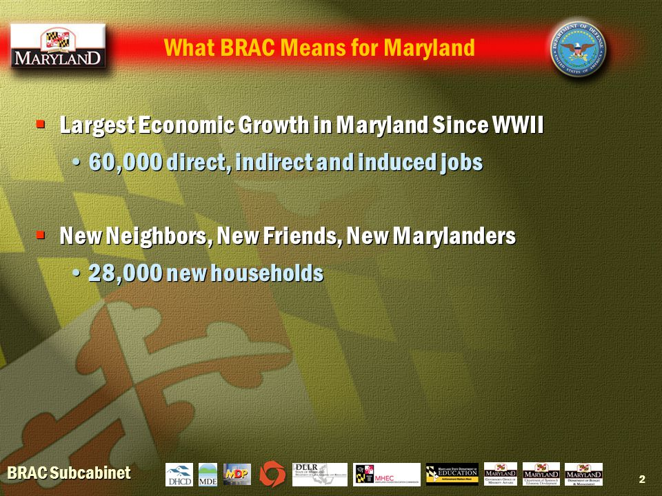 BRAC Subcabinet 2  Largest Economic Growth in Maryland Since WWII 60,000 direct, indirect and induced jobs  New Neighbors, New Friends, New Marylanders 28,000 new households  Largest Economic Growth in Maryland Since WWII 60,000 direct, indirect and induced jobs  New Neighbors, New Friends, New Marylanders 28,000 new households What BRAC Means for Maryland