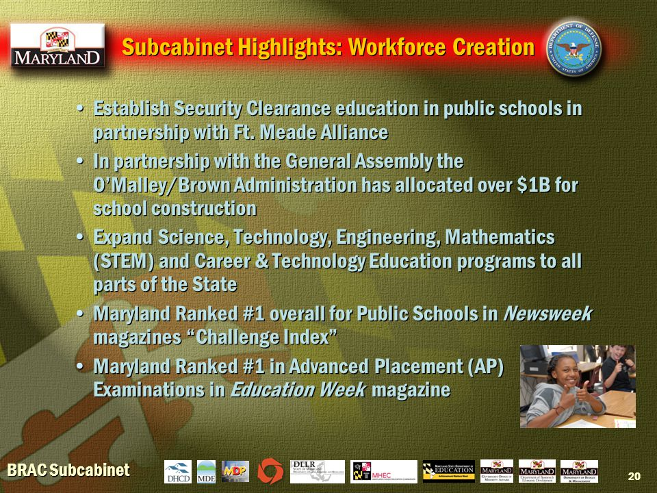 BRAC Subcabinet 20 Subcabinet Highlights: Workforce Creation Establish Security Clearance education in public schools in partnership with Ft.