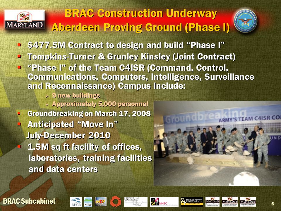 BRAC Subcabinet 6 BRAC Construction Underway Aberdeen Proving Ground (Phase I)  $477.5M Contract to design and build Phase I  Tompkins-Turner & Grunley Kinsley (Joint Contract)  Phase I of the Team C4ISR (Command, Control, Communications, Computers, Intelligence, Surveillance and Reconnaissance) Campus Include:  9 new buildings  Approximately 5,000 personnel  Groundbreaking on March 17, 2008  Anticipated Move In July-December 2010  1.5M sq ft facility of offices, laboratories, training facilities and data centers  $477.5M Contract to design and build Phase I  Tompkins-Turner & Grunley Kinsley (Joint Contract)  Phase I of the Team C4ISR (Command, Control, Communications, Computers, Intelligence, Surveillance and Reconnaissance) Campus Include:  9 new buildings  Approximately 5,000 personnel  Groundbreaking on March 17, 2008  Anticipated Move In July-December 2010  1.5M sq ft facility of offices, laboratories, training facilities and data centers