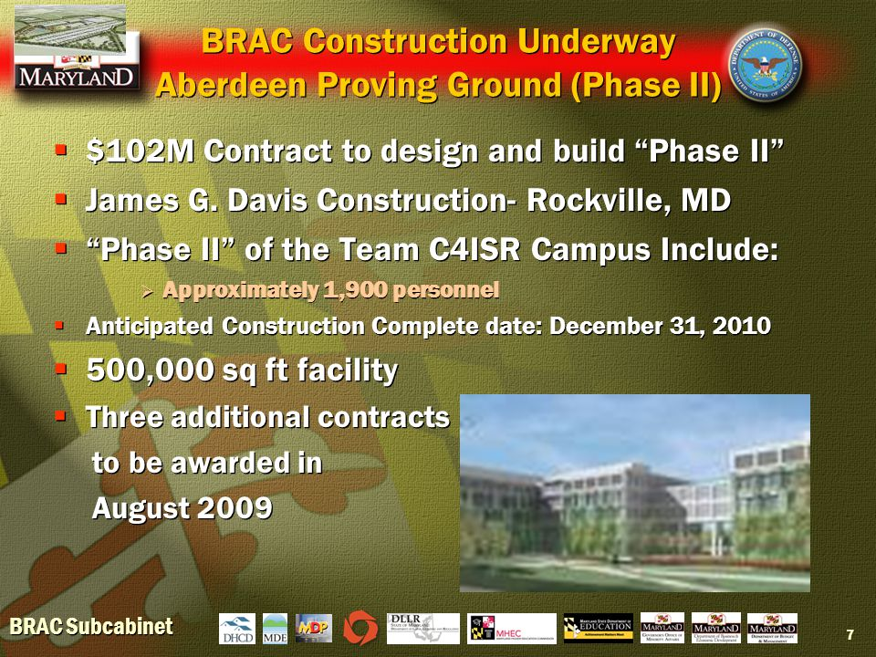 BRAC Subcabinet 7 BRAC Construction Underway Aberdeen Proving Ground (Phase II)  $102M Contract to design and build Phase II  James G.