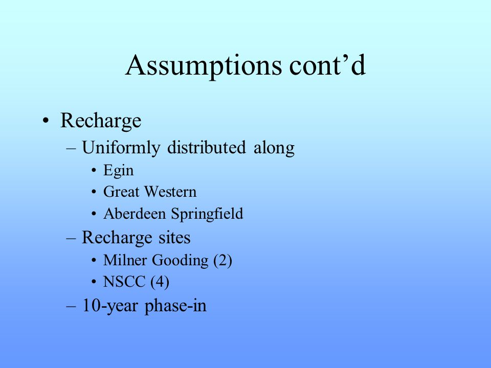 Assumptions cont'd Recharge –Uniformly distributed along Egin Great Western Aberdeen Springfield –Recharge sites Milner Gooding (2) NSCC (4) –10-year phase-in