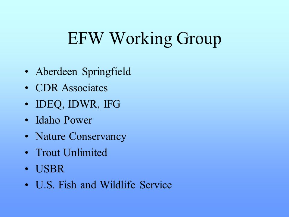 Goal to identify and discuss possible impacts on fish and wildlife resources, positive and negative, from actions to be taken under the ESPA Comprehensive Aquifer Management Plan