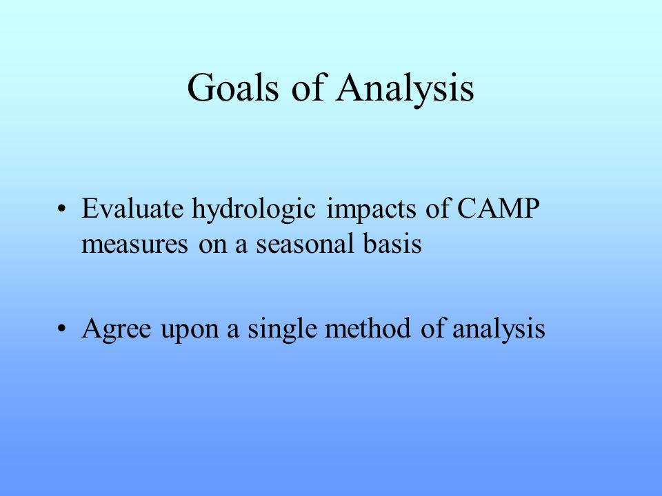 Goals of Analysis Evaluate hydrologic impacts of CAMP measures on a seasonal basis Agree upon a single method of analysis