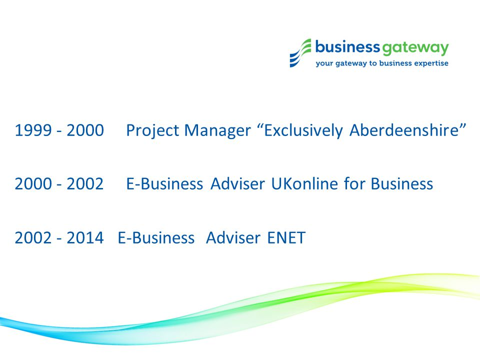 "1999 - 2000 Project Manager ""Exclusively Aberdeenshire"" 2000 - 2002 E-Business Adviser UKonline for Business 2002 - 2014 E-Business Adviser ENET"