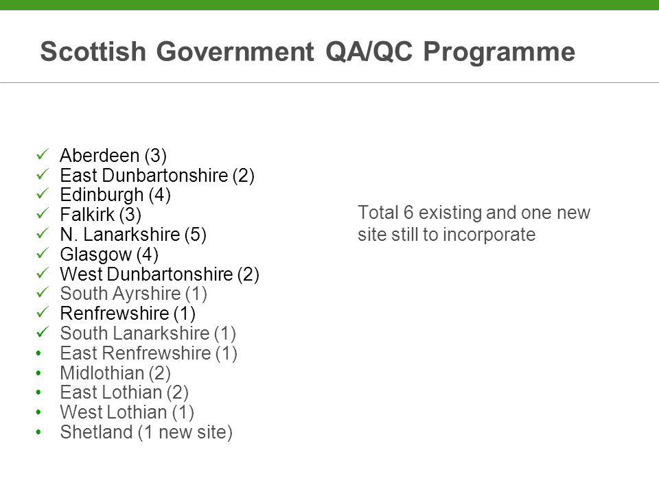 Scottish Government QA/QC Programme Aberdeen (3) East Dunbartonshire (2) Edinburgh (4) Falkirk (3) N.