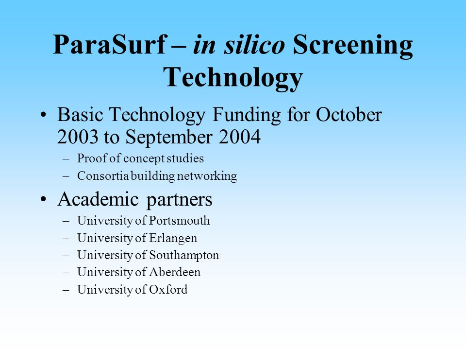 ParaSurf – in silico Screening Technology Basic Technology Funding for October 2003 to September 2004 –Proof of concept studies –Consortia building networking Academic partners –University of Portsmouth –University of Erlangen –University of Southampton –University of Aberdeen –University of Oxford