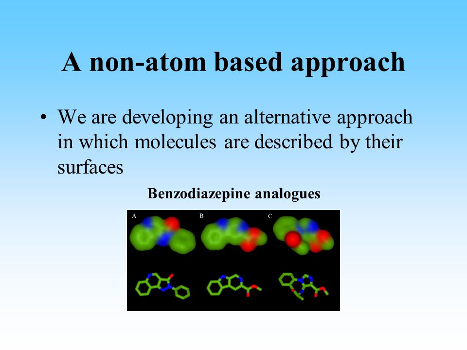 A non-atom based approach We are developing an alternative approach in which molecules are described by their surfaces Benzodiazepine analogues