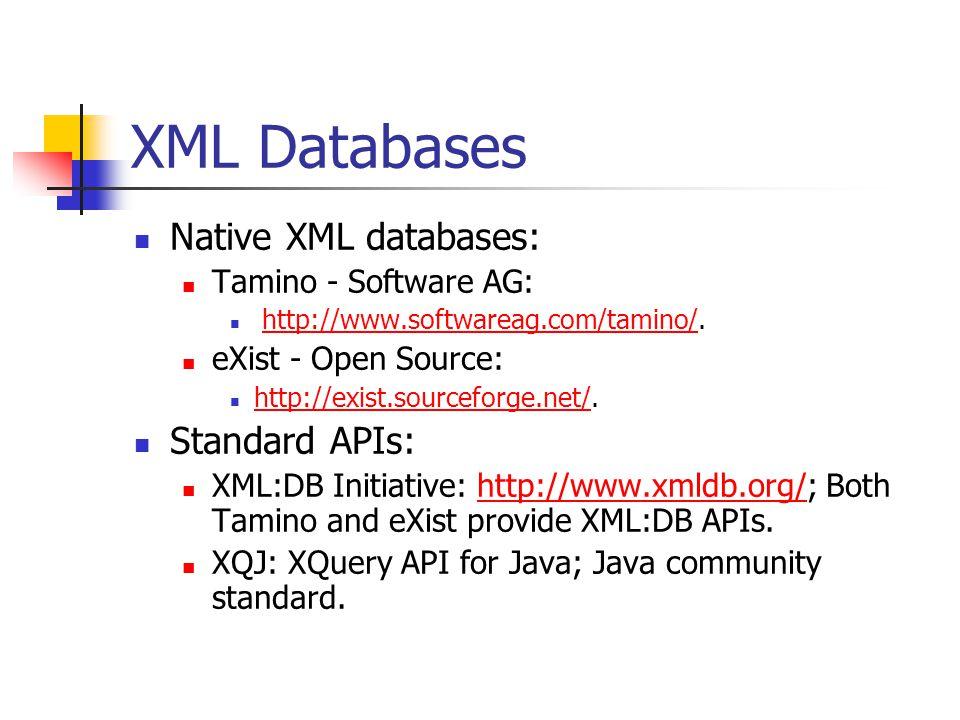 XML Databases Native XML databases: Tamino - Software AG: http://www.softwareag.com/tamino/.http://www.softwareag.com/tamino/ eXist - Open Source: http://exist.sourceforge.net/.