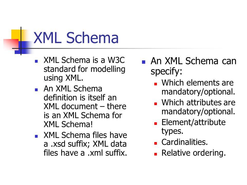 XML Schema XML Schema is a W3C standard for modelling using XML.