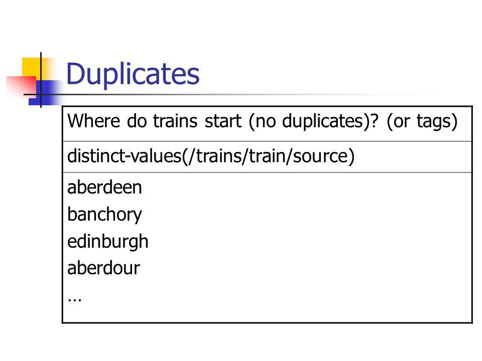 Duplicates Where do trains start (no duplicates).