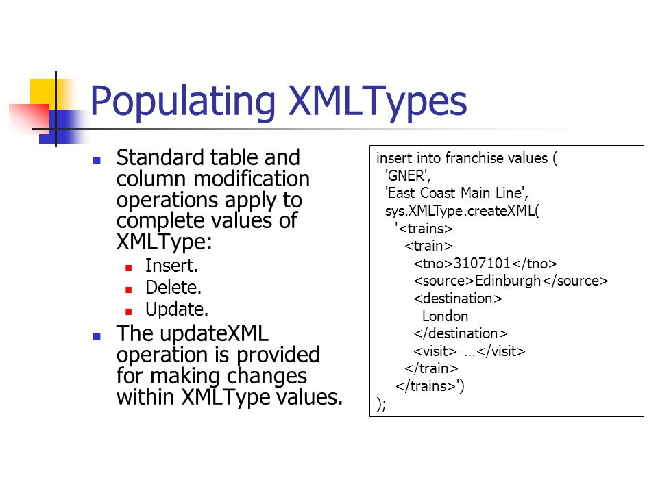 Populating XMLTypes Standard table and column modification operations apply to complete values of XMLType: Insert. Delete. Update. The updateXML opera