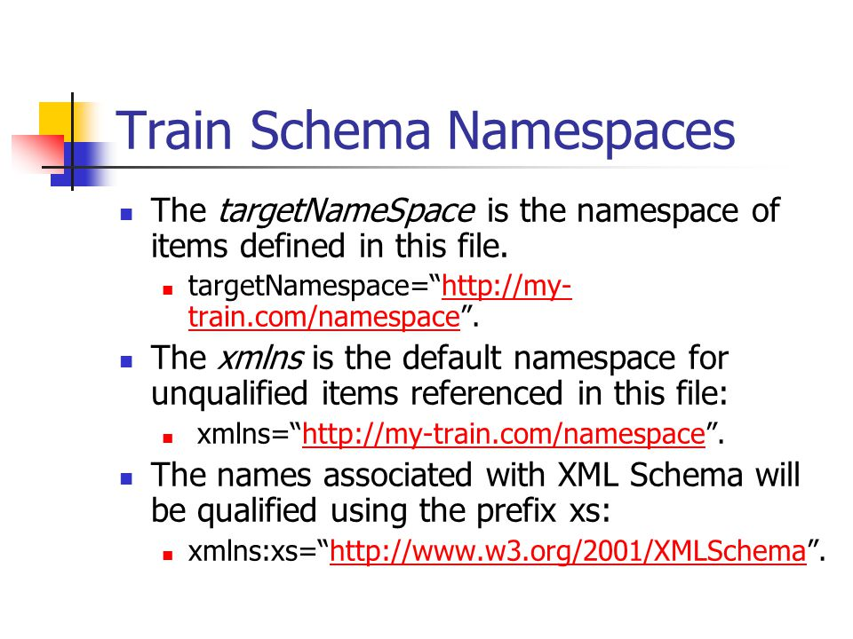 "Train Schema Namespaces The targetNameSpace is the namespace of items defined in this file. targetNamespace=""http://my- train.com/namespace"".http://my"