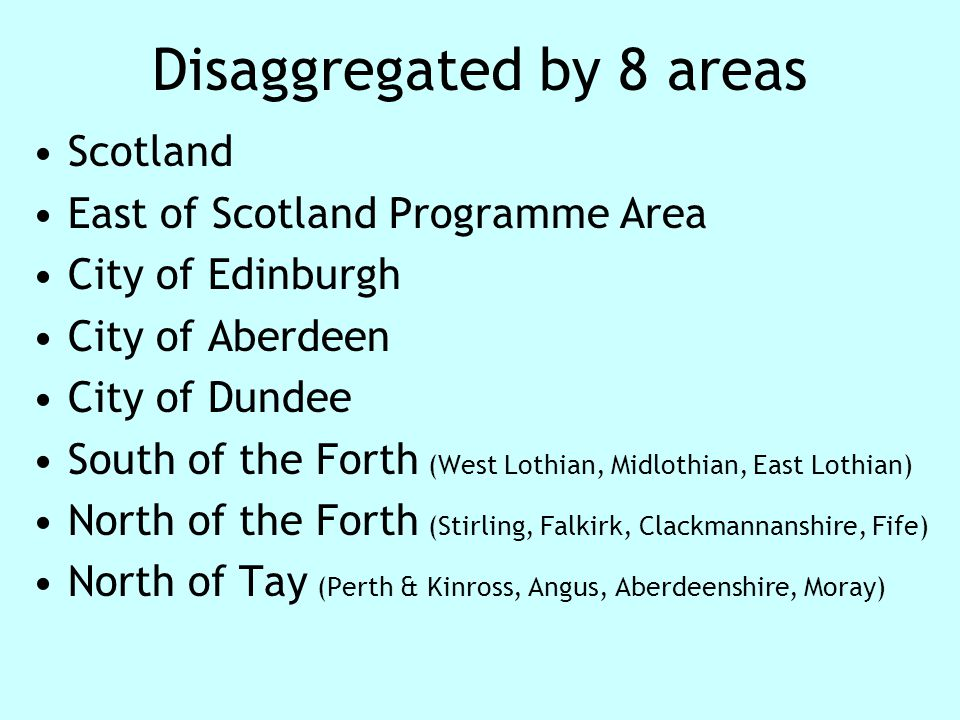 Disaggregated by 8 areas Scotland East of Scotland Programme Area City of Edinburgh City of Aberdeen City of Dundee South of the Forth (West Lothian, Midlothian, East Lothian) North of the Forth (Stirling, Falkirk, Clackmannanshire, Fife) North of Tay (Perth & Kinross, Angus, Aberdeenshire, Moray)