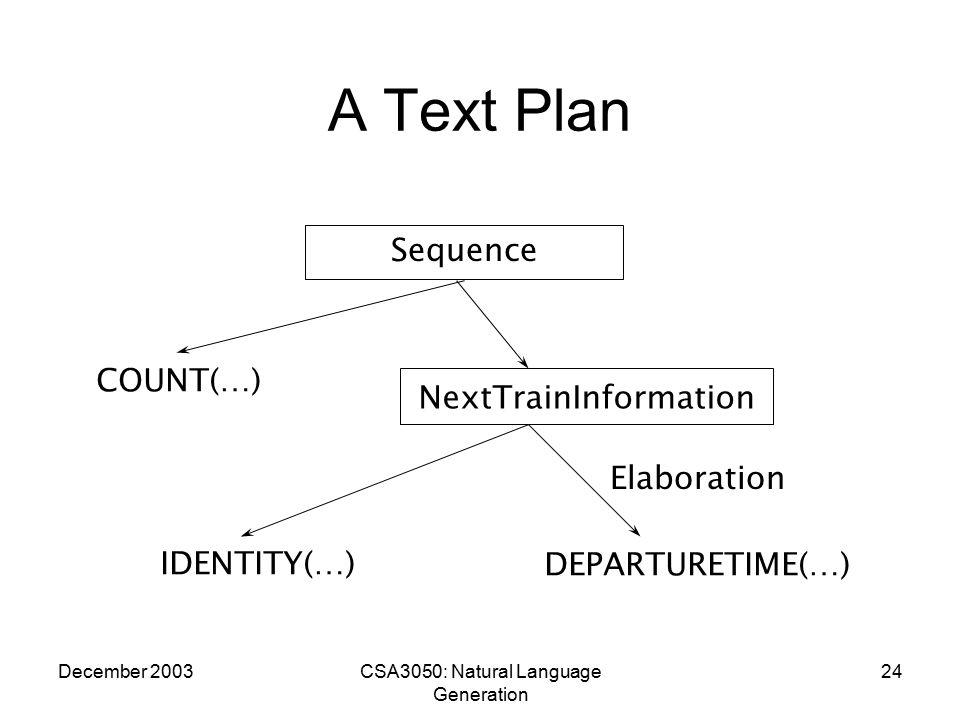 December 2003CSA3050: Natural Language Generation 24 A Text Plan NextTrainInformation IDENTITY(…)DEPARTURETIME(…) COUNT(…) Sequence Elaboration