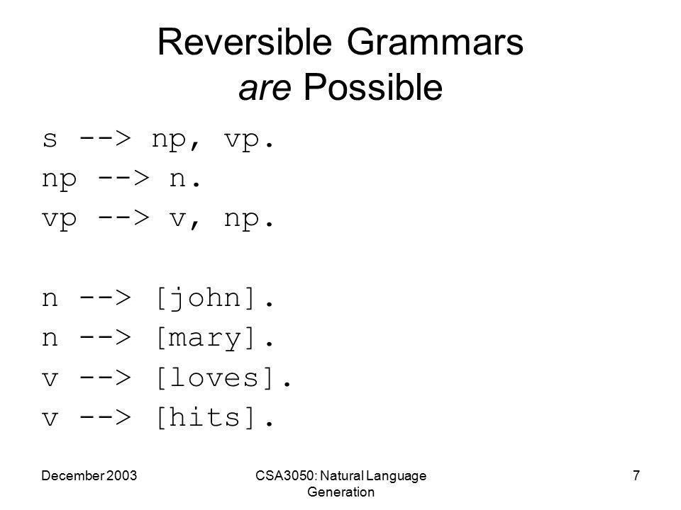 December 2003CSA3050: Natural Language Generation 8 Reversible Grammar - Output 1 ?- s([john,loves,mary],[]).