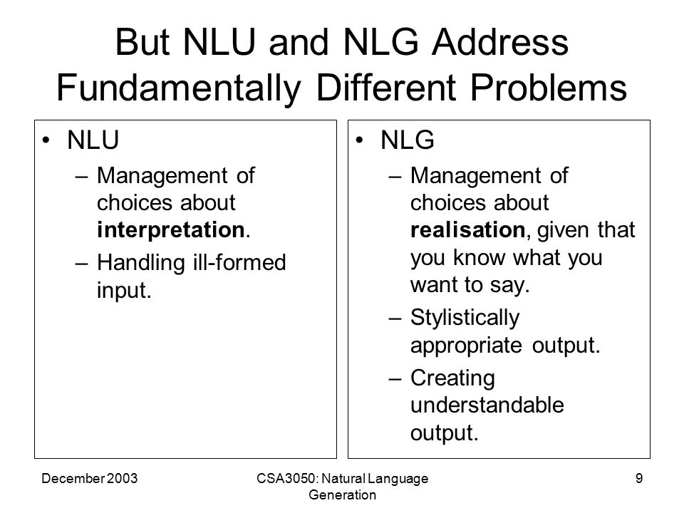 December 2003CSA3050: Natural Language Generation 9 But NLU and NLG Address Fundamentally Different Problems NLU –Management of choices about interpretation.