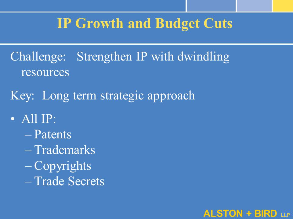 ALSTON + BIRD LLP IP Growth and Budget Cuts Challenge: Strengthen IP with dwindling resources Key: Long term strategic approach All IP: –Patents –Trad