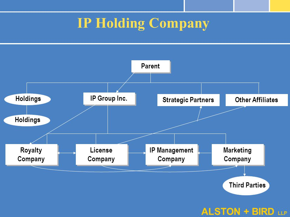 ALSTON + BIRD LLP Parent IP Group Inc. Holdings Strategic PartnersOther Affiliates Royalty Company License Company IP Management Company Marketing Com