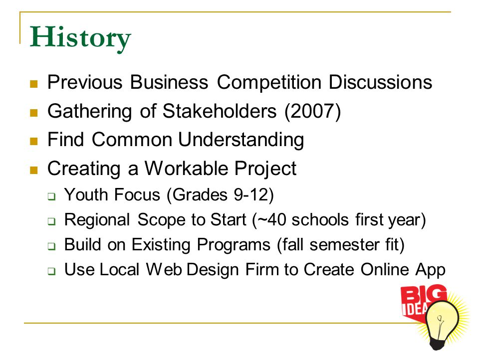 History Previous Business Competition Discussions Gathering of Stakeholders (2007) Find Common Understanding Creating a Workable Project  Youth Focus (Grades 9-12)  Regional Scope to Start (~40 schools first year)  Build on Existing Programs (fall semester fit)  Use Local Web Design Firm to Create Online App