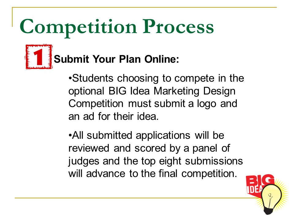 Competition Process Submit Your Plan Online: Students choosing to compete in the optional BIG Idea Marketing Design Competition must submit a logo and an ad for their idea.