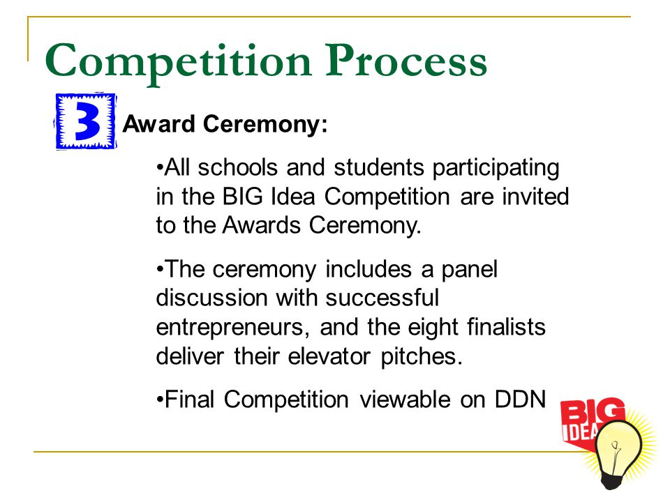 Award Ceremony: All schools and students participating in the BIG Idea Competition are invited to the Awards Ceremony. The ceremony includes a panel d