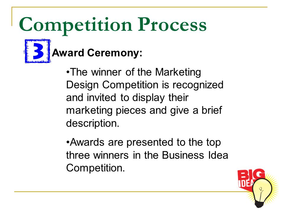 Competition Process Award Ceremony: The winner of the Marketing Design Competition is recognized and invited to display their marketing pieces and giv