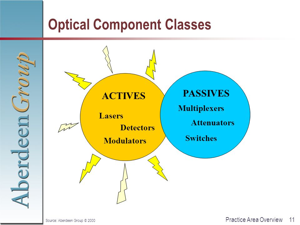 11Practice Area Overview Source: Aberdeen Group © 2000 Optical Component Classes ACTIVES PASSIVES Lasers Detectors Modulators Multiplexers Attenuators Switches