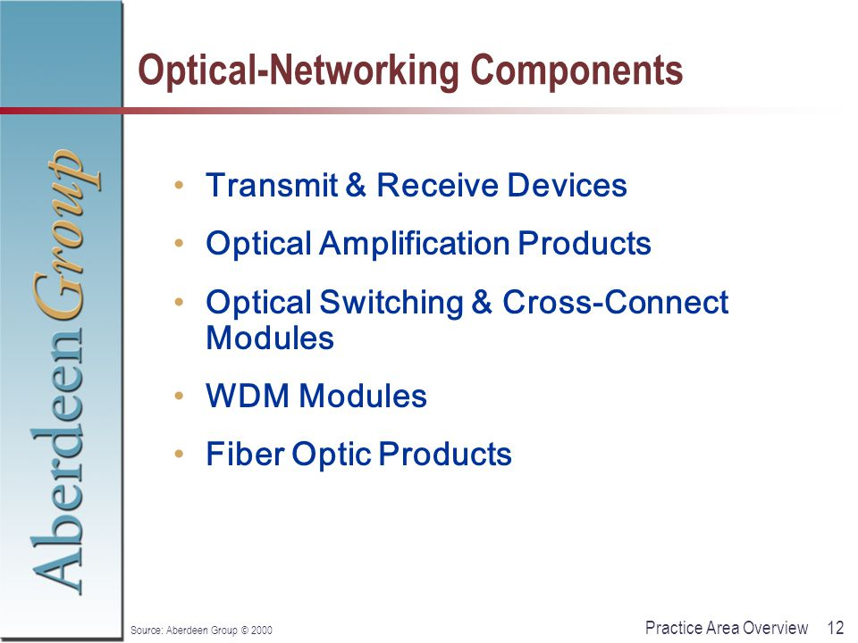 12Practice Area Overview Source: Aberdeen Group © 2000 Optical-Networking Components Transmit & Receive Devices Optical Amplification Products Optical