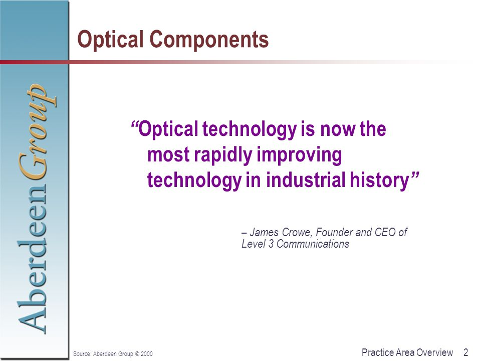 """2Practice Area Overview Source: Aberdeen Group © 2000 Optical Components """" Optical technology is now the most rapidly improving technology in industri"""