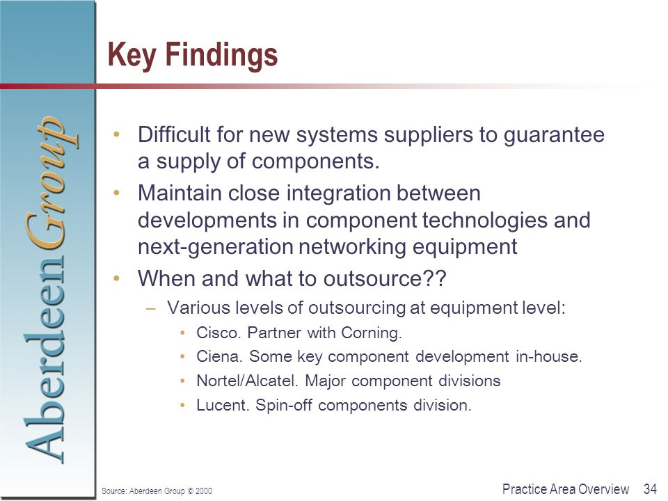 34Practice Area Overview Source: Aberdeen Group © 2000 Key Findings Difficult for new systems suppliers to guarantee a supply of components.