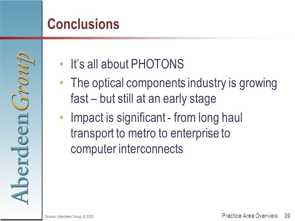 39Practice Area Overview Source: Aberdeen Group © 2000 Conclusions It's all about PHOTONS The optical components industry is growing fast – but still