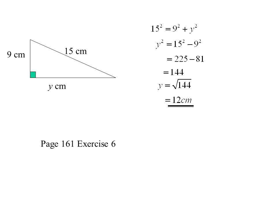 15 cm y cm 9 cm Page 161 Exercise 6