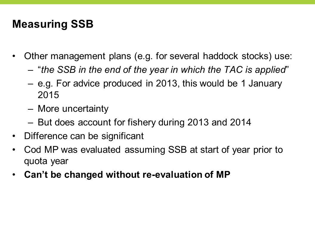 Measuring SSB Other management plans (e.g.