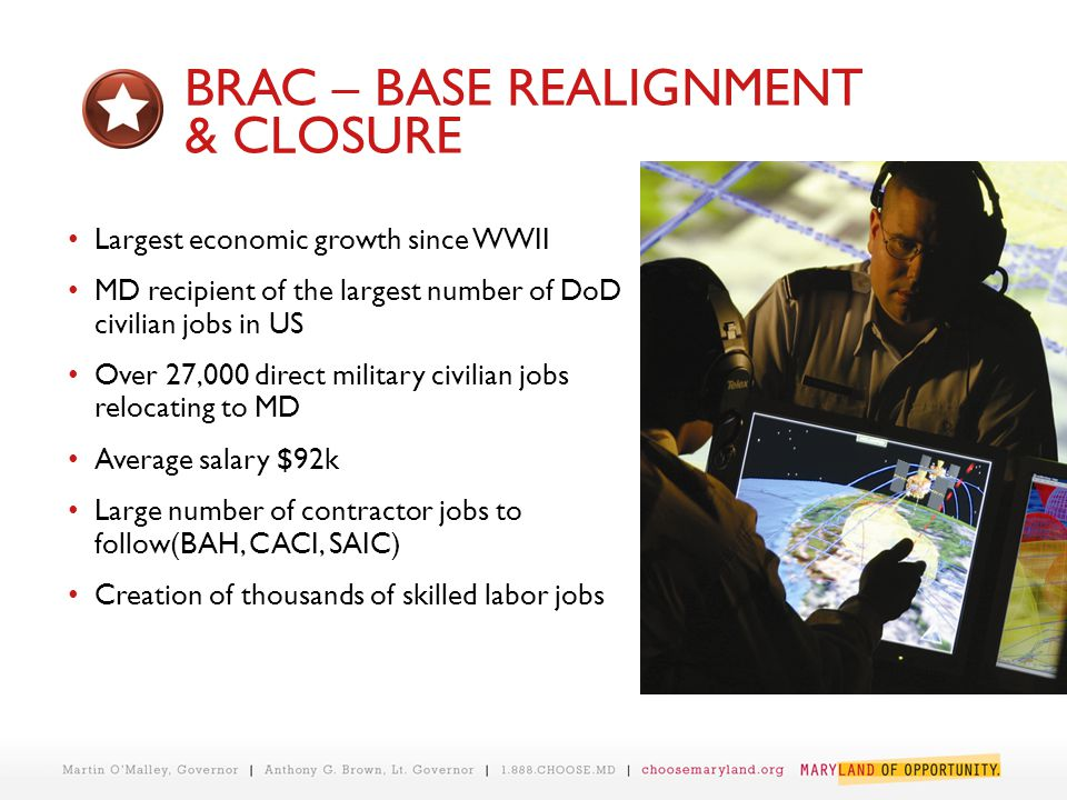 BRAC – BASE REALIGNMENT & CLOSURE Largest economic growth since WWII MD recipient of the largest number of DoD civilian jobs in US Over 27,000 direct military civilian jobs relocating to MD Average salary $92k Large number of contractor jobs to follow(BAH, CACI, SAIC) Creation of thousands of skilled labor jobs