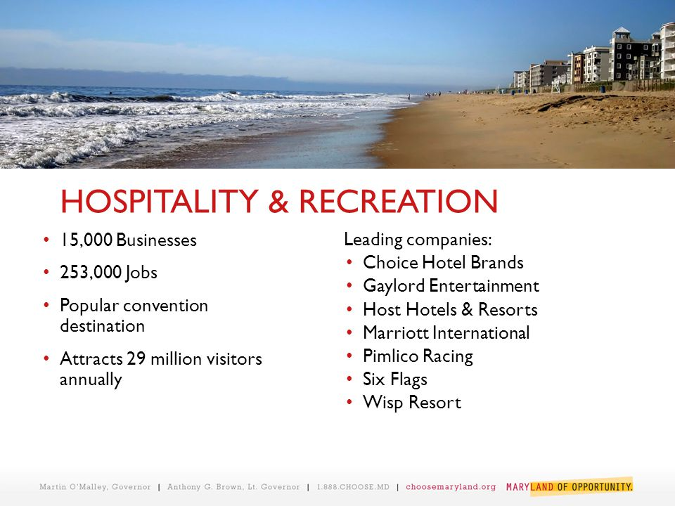 HOSPITALITY & RECREATION 15,000 Businesses 253,000 Jobs Popular convention destination Attracts 29 million visitors annually Leading companies: Choice Hotel Brands Gaylord Entertainment Host Hotels & Resorts Marriott International Pimlico Racing Six Flags Wisp Resort