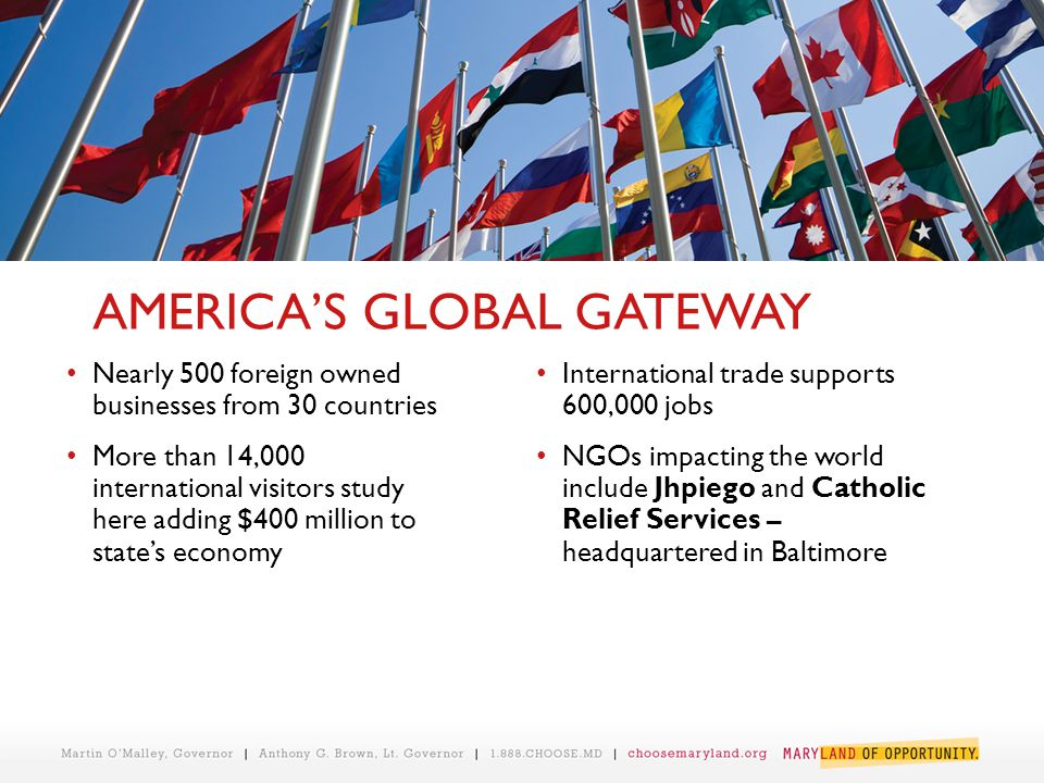 AMERICA'S GLOBAL GATEWAY Nearly 500 foreign owned businesses from 30 countries More than 14,000 international visitors study here adding $400 million