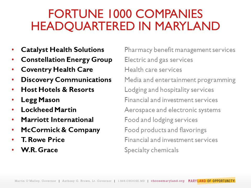 FORTUNE 1000 COMPANIES HEADQUARTERED IN MARYLAND Catalyst Health SolutionsPharmacy benefit management services Constellation Energy GroupElectric and